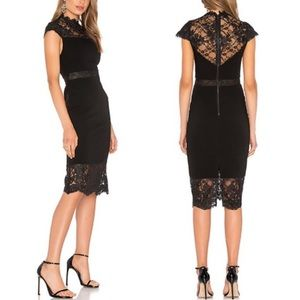 Alice + Olivia Kim Black Lace Midi Dress